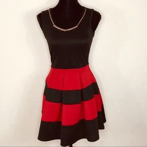 Crystal Doll Red Black Pleated Dress Size 5